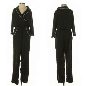 Vintage - Black Jumpsuit with Pink Piping Trim